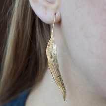 18ct Gold over Silver Long Leaf Earrings