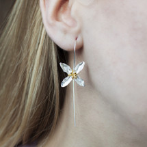 Sterling Silver Gold Plating Hooped 'Lily of Valley' Earrings