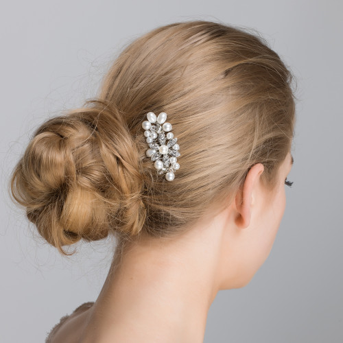 'Anya' Crystal Flower With Clusters of Pearls Hair Comb