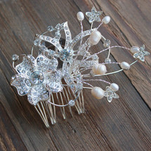 'Deborah' Duo Flower Diamondate Fresh Water Pearl Hair Comb
