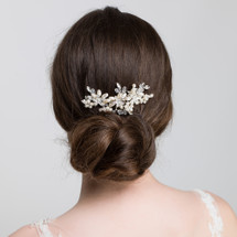 'Elaine' Curved Ivory White Bridal Pearl & Crystal Hair Comb