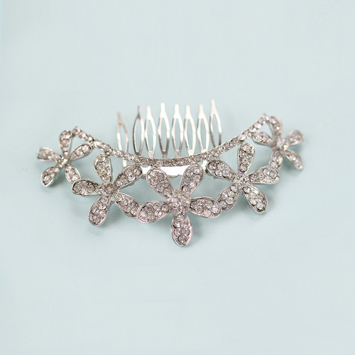 'Enchanted Ella' Curved Crystal Flower Hair Comb