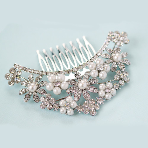 Layla Crescent flower pearl wedding hair comb slide