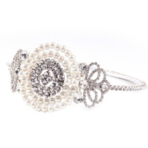 'Ellie' Art Deco Style Headdress with a diamante centre and radiant ivory pearls