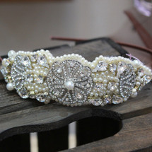 'Lorelei' Art Deco Disc with Crystals and Pearls Side Headband