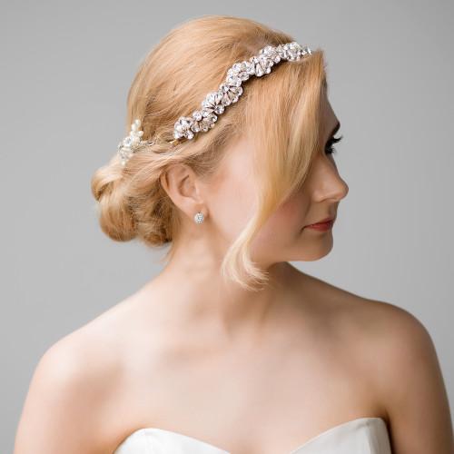 diamante full crystal wedding bridal band headpiece