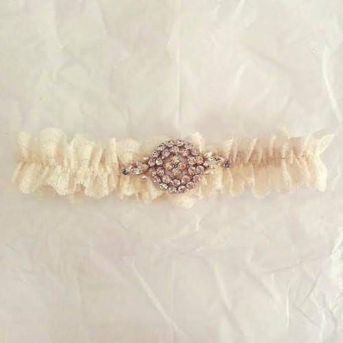'Lacey' Heavy Lace Diamantes Buckle Bridal Garter