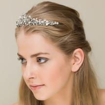 'Greta' Classic Beauty Crystal Pearl Tiara