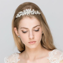 'Niamh' Full Flower Bridal Headband with Pearls and Crystals