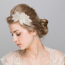 'Demetria' Diamante Leafy crystal applique wedding headband