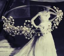 'Iris' Flower Pearl Crystal Wedding Tiara Head Band
