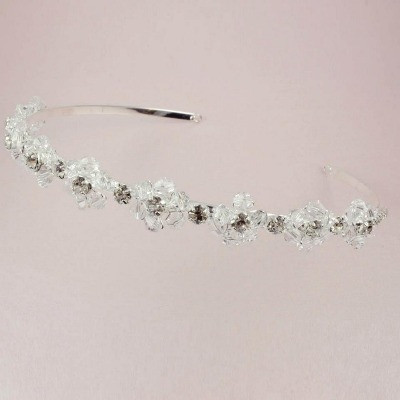 'Lolita' Clear Daisy Flower Crystal Tiara (thin band)