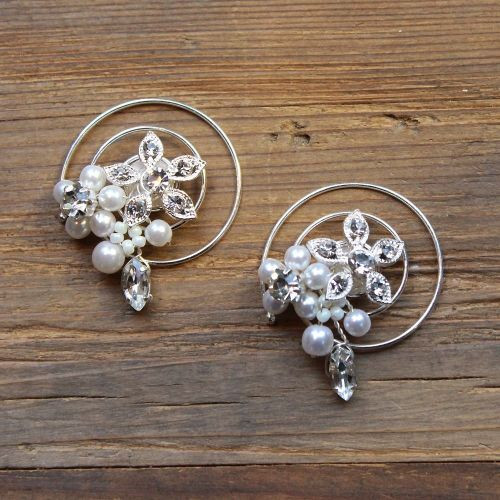 'Leah' Pearl Diamante Crystal Bridal Hair Swirl (A Pair)