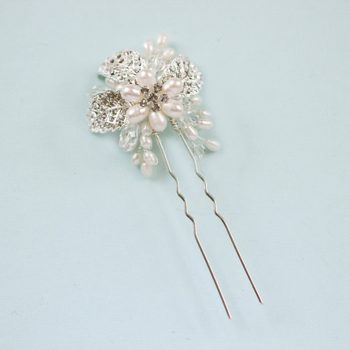 leafy small pearl bridal wedding hair pin