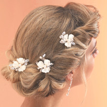 wedding bridal hair pins | Set of 3 bridal hair sticks with sprayed enamel flowers and hand wired branches of diamante, pearls & crystals.