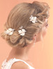 wedding bridal floral hair pins | Set of 3 bridal hair sticks with sprayed enamel flowers and hand wired branches of diamante, pearls & crystals. rose gold, black