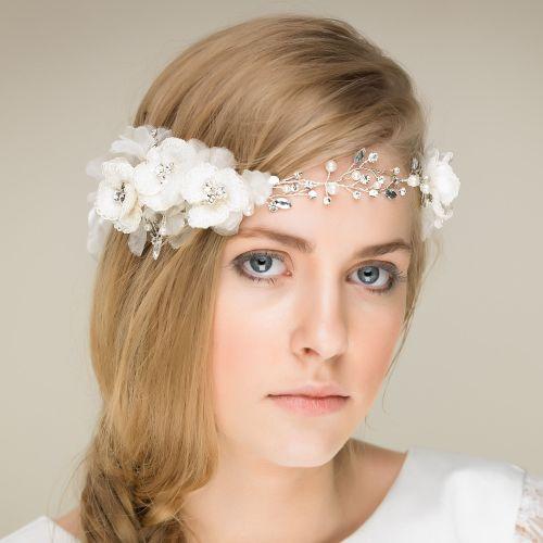 Rose of Eternity Ribbon Crystal Flower Hair Vine