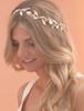 rose gold leafy wedding bridal hair vine wreath chain with crystal