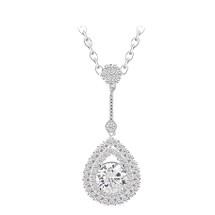 diamonte cluster of crystal wedding bridal silver drop necklace pendant