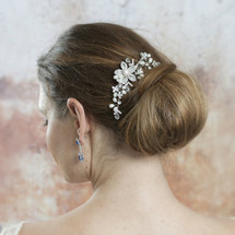 'Sylvia' Flower and Pearl Bridal Hair Comb