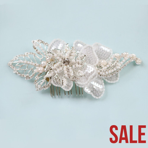 Mermaid Sequin White Ivory Hair Comb