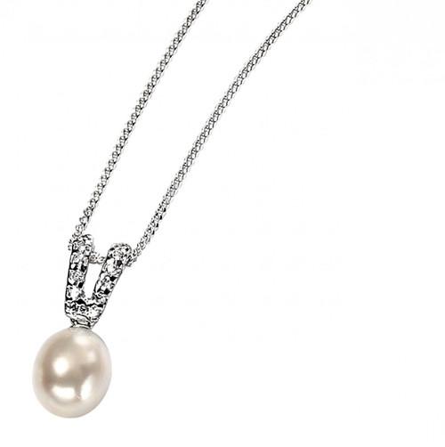 'Alessia' Freshwater Pearl Drop Silver Pendant | Lily Luna