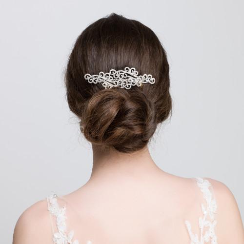 'Annmarie' Diamante Crystal Flower Bridal Hair Comb