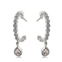 Bridal Diamanté Drop Hoops