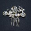 'Bernadette' Ivory Cream White Bridal Pearl and Crystal Silver Small Side Hair Comb