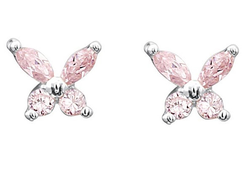 'Courtney' Silver and Pink CZ Butterfly Studs