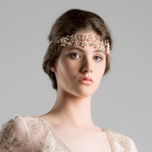 'Genevieve' Golden Bridal Forehead Band