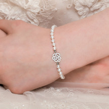 'Arabella' Freshwater Pearl with Art Deco Rose Bracelet