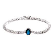 'Olive- Something Blue' Fine Bracelet