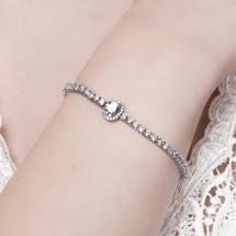 Olive - Clear Crystal Fine Bracelet