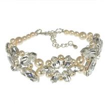 'Alicia' Swarovski Crystal Pearls Crystal Bracelet wedding bridal