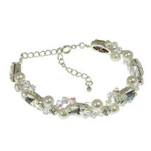 LINZ15BRC02a-swarovsi-crystal-pearl-bridal-bracelet-edinburgh-scotland-wedding  'Emilia' Swarovski Crystal Pearl Crystal Slim Bracelet