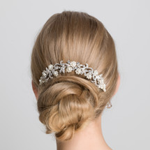 'Mila' Bridal Pearl and Crystal Hair Vine