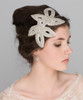 'Valentina' Statement Art Deco Bridal Side Headband, Leafy Design