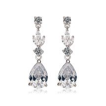 'Agnes' Statement Leafy diamante bridal wedding Teardrop Earrings
