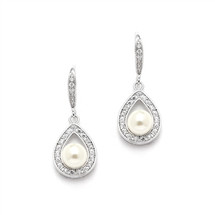 'Drew' Pearl Drop diamante retro vintage Earrings