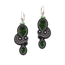 Hand Embroidered Dark Emerald Green, Black and Silver Earrings
