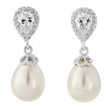 'Natasha' Faux Pearl Cubic Zirconia Drop Earrings