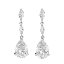 'Hardley' Cubic Zirconia Classic Drop Earrings wedding bridal