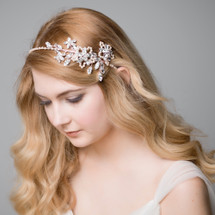 'Brienne' Pink/Blush Pearl and Crystal Hair Band.