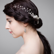 'Adrianna' Crystal and Pearl Trail Hair Comb