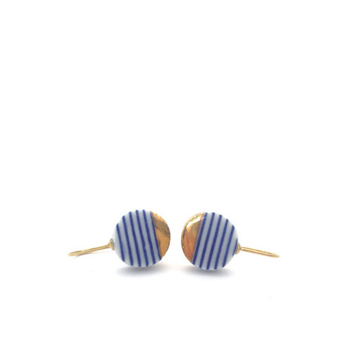 Blue and White Horizontal Striped Ceramic Earrings