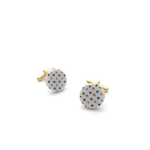 White, Black and Gold Spotted Ceramic Cufflinks