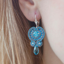 Hand Embroidered Aqua Blue with Swarovski Crystal Earrings