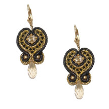 Hand Embroidered Gold and Black Swarovski Crystal Drop Earrings