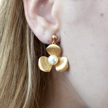 Arte Nobile - Gold Plated Sterling Silver Flower and Pearl Drop Earrings